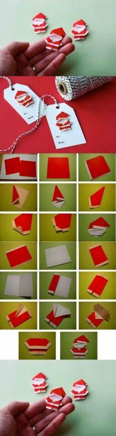 Süße Geschenkanhänger im Origamistil: Nikoläuse aus Papier falten. Toll!