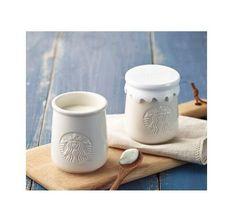 I'm sending jar only except yogurt . ceramic jar with plastic lid X Starbucks Merchandise, Starbucks Logo, Starbucks Coffee, Glass Water Bottle, Glass Bottles, Milk Jelly, Starbucks Reserve, Pudding Cups, Hot Chocolate Mug