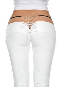 Nano Low-rise synthetic leather pants - White