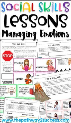 Social skills lessons for managing emotions. Topics include understanding emotions, how behaviors impact others, making good choices, developing self-control, dealing with anger, coping strategies and more. Perfect for morning meeting, advisory, or small groups.