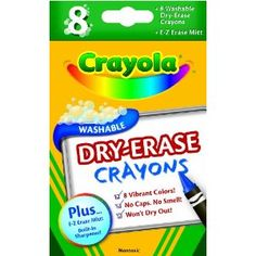 Crayola 8ct Dry Erase Crayons $3.97.  Fun on a dry-erase easel and also great for laminate busy bag sheets.