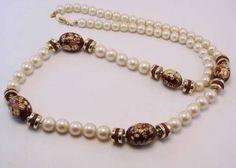 Vintage Faux Pearl and Cloisonne Beads Necklace #vintage #jewelry
