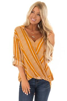 53d8ca8f76d4a4 Lime Lush Boutique - Pumpkin Crossover Front Top with 3 4 Sleeves
