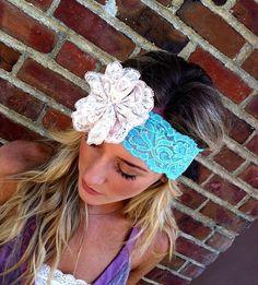 Lace Flower Headband Aqua Stretchy Head bands by ThreeBirdNest, $24.00