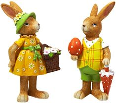 HEITMANN DECO Set of 2 nostalgic Easter bunnies made of polyresin – decorative figures for Easter decoration for the home - Deko My Spring, Easter Bunny, Decoration, Home Accessories, Pikachu, Ikea, Teddy Bear, Christmas Ornaments, Toys