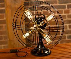 Vintage Fan Lamp, Edison Lamp, Steampunk Lamp, Repurposed Fan Lamp, Electric Fan, Industrial Fan Lamp, Edison Bulb, GE, Antique.