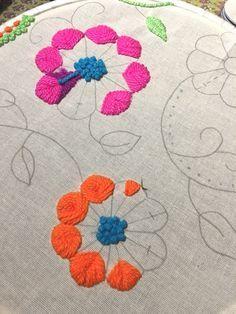 Resultado de imagen para patrones para bordados mexicanos Tambour Embroidery, Hand Embroidery Flowers, Hand Embroidery Stitches, Modern Embroidery, Crewel Embroidery, Cross Stitch Embroidery, Embroidery Patterns, Mexican Embroidery, Brazilian Embroidery