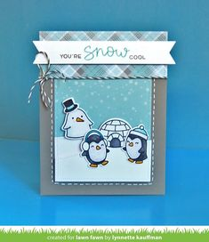 Lawn Fawn Intro: Snow Cool  Snow Cool Penguins stitched hillside pop-up