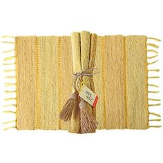 Citrus Stripe Vetiver Placemats (6) handcrafted in Bali. Available at Alternatives Global Marketplace in store and online.