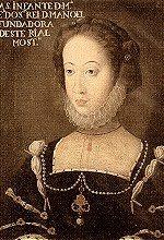 Infanta Maria, of the House of Avis, born on the 8th of June of 1521.  Daughter of D.manuel I and Eleonor of Habsburg. Her education was astounding for a woman, and she is to this day, known as the most educated of the portuguese infantas and a famed humanist. She made a name of herself as a patron of the arts. A few rumours were bound to follow someone like that, the most famous of them involve an affair with Portugal' greatest poet, Luís de Camões.