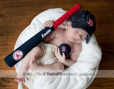 Boston Red Sox Baseball Baby Session by New Canaan Connecticut Fairfield County Newborn Photographer Nicole Taylor