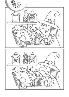 Find the diferences Theme Halloween, Halloween Decorations For Kids, Halloween Crafts For Kids, Halloween Games, Halloween Activities, Holidays Halloween, Las Brujas De Roald Dahl, Coloring Books, Coloring Pages