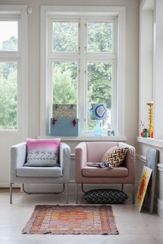 patterned pillows and rug