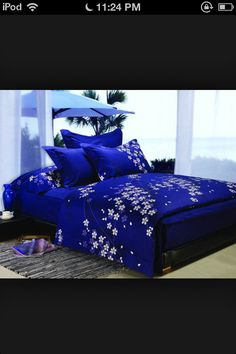 Really awesome blue bedspread.