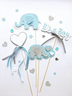 Excited to share the latest addition to my #etsy shop: Elephant Centerpieces Boy Baby Shower Centerpieces Blue Gray Its a Boy Centerpieces Baby Boy Shower Elephant First Birthday Table Decoration