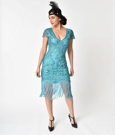 79444320788 1920s Style Turquoise Beaded Fringe Aurore Flapper Dress
