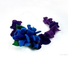 Felted Collar Felt Necklace flower art jewerly nunofelt by filcant