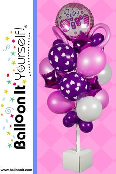 It's a Girl? It's a Balloon It Yourself! - the perfect decoration for every celebration! decorate with air-filled balloons. NO HELIUM.  Ask for BIY! at your local party supply store or visit www.balloonit.com. #balloonit #balloonityourself #babyshower #balloons #globos Balloons On Sticks, Helium Balloons, Party Supply Store, Balloon Bouquet, Unicorn Party, Table Centerpieces, Babyshower, A Table, First Birthdays