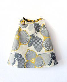 Robe réversible Retro jaune et grise à imprimé floral et à pois : Mode filles par gabardine