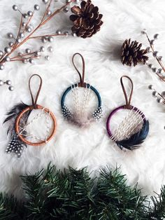 Boho Christmas Ornament Set - Mini Dream Catcher Ornaments - Bohemian Christmas Gift Topper - Boho Holiday Decor -Jewel Tone Dreamcatcher by BastandBruin on Etsy www.etsy.com/...