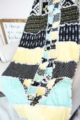 Arrow Aztec Rag Quilt - Toddler Bedding / Throw Size - Mint / Yellow / Black