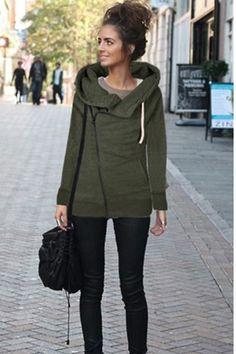 e52eed85c5c Fashion Long Sleeve Lapel Pocket Zipper Hooded Coat