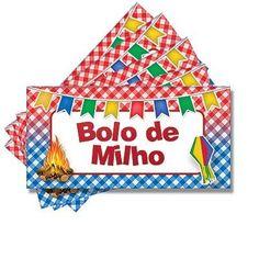 Plaquinha para Mesa Junina Bolo de Milho - 05 unidades