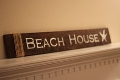 Beach House Reclaimed Wood Sign - With Starfish and Twine Wrap