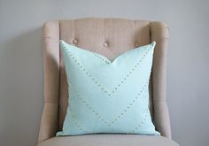 18x18 Mint Down Pillow with Gold Studs Chevron Design by whitenest