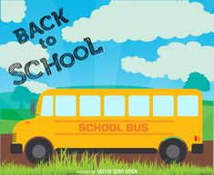 School bus illustration featuring a yellow bus on a road. Design also has…