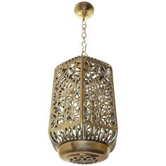 Large Pierced Filigree Brass Japanese Asian Ceiling Pendant Light | From a unique collection of antique and modern chandeliers and pendants at https://www.1stdibs.com/furniture/lighting/chandeliers-pendant-lights/