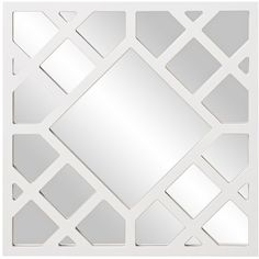 "Howard Elliott Anakin White 24"" Lattice Wall Mirror ($100) ❤ liked on Polyvore featuring home, home decor, mirrors, brown, square mirror, white mirror, lattice mirror, howard elliott and brown mirror"