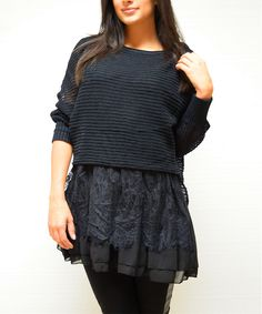 Black Ribbed Ruffle Scoop Neck Tunic   zulily
