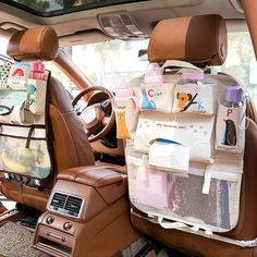 Keep your car clean and organized with this custom made, Kids Car Seat Storage Organizer. This adorable organizer is perfect for babies, toddlers, kids and young teens alike. Car Organization Kids, Baby Bottle Organization, Nursery Organization, Diaper Bag Organization, Baby Life Hacks, Yoga Box, Cute Car Accessories, Vehicle Accessories, Seat Storage