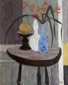 ''Interior'', circa 1859, oil on canvas by Sir William George Gillies (1898–1973), a renowned Scottish landscape & still life painter. He experimented only briefly with portraiture early in his career,