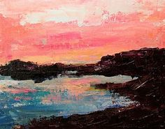 """""""Shoreline Sunset"""", by Karla Nolan, palette knife, oil painting, linen panel Palette Knife Painting, First Art, Color Theory, Art Techniques, Painting Inspiration, Paint Colors, Original Paintings, Abstract, Wallpaper"""