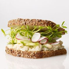 Smashed White Bean, Cucumber and Radish Sandwich