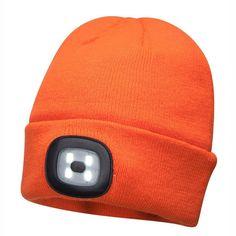 Gorro Beanie con luz LED recargable Naranja.