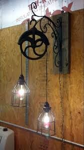 Architecture,Vintage Industrial Pulley Light Fixture Desig With Cast Iron Construction And Antique Iron Shaped,Pulley Light Fixture Design For Best Lighting Vintage Industrial Lighting, Rustic Lighting, Industrial Interiors, Lighting Design, Lighting Ideas, Wall Lighting, Industrial Style, Industrial Apartment, Industrial Bathroom