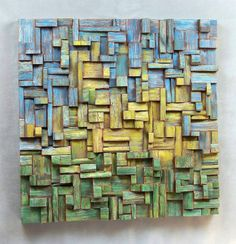 pattern, work of art. This wood art design shows pattern through the repatition of the square and rectangular blocks