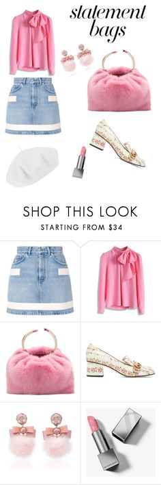 """""""Hot pink and a fur bag"""" by arlindam ❤ liked on Polyvore featuring Givenchy, Chicwish, Valentino, Gucci, Ranjana Khan, Burberry, Betmar and statementbags"""