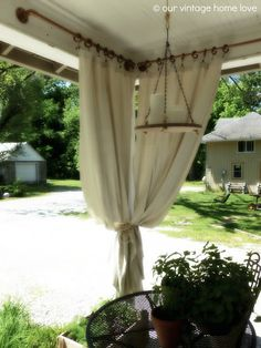 our vintage home love: Back/Side Porch Ideas For Summer and An Industrial Pipe Curtain Rod How To Porch Curtains, Outdoor Curtains, Corner Curtains, Swag Curtains, Hanging Curtains, Gazebo, Diy Pergola, Pergola Ideas, Pergola Kits