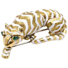 David Webb Tiger Brooch | From a unique collection of vintage brooches at https://www.1stdibs.com/jewelry/brooches/brooches/