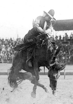 Bertha Blancett on Eagle, [Pendleton Round-Up]  Walter S. Bowman, Pendleton, Oregon, ca. 1920    By 1920 rodeos regularly featured three cowgirl events--bronc riding, trick riding, and relay racing. Cowgirls had to stay on a bronc for 8 seconds (men 10 seconds), ride with two reins instead of one, and ride one-handed like the men. Most cowgirls rode with hobbled stirrups (stirrups tied together). The ladies' bronc riding event was dropped by 1941