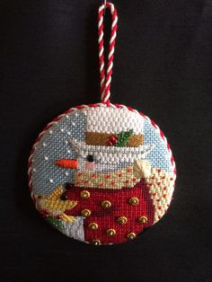 Snowman Ornament ~ needlepoint canvas by Melissa Shirley