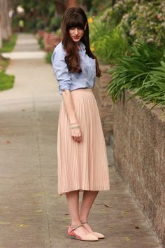 Blush pleated midi skirt, striped chambray shirt, color blocked mini wedges.