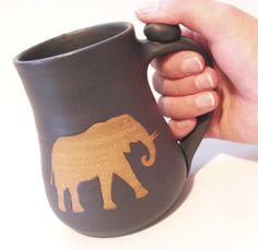Elephant Coffee Mug, Tea Cup Glazed in Rustic Textured Gray - Brown Clay Animal Silhouette Handmade on Etsy, £14.84