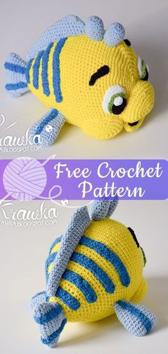 Mesmerizing Crochet an Amigurumi Rabbit Ideas. Lovely Crochet an Amigurumi Rabbit Ideas. Crochet Disney, Little Mermaid Crochet, Disney Crochet Patterns, Crochet Fish, Crochet Amigurumi Free Patterns, Crochet Animal Patterns, Cute Crochet, Beautiful Crochet, Crochet Dolls