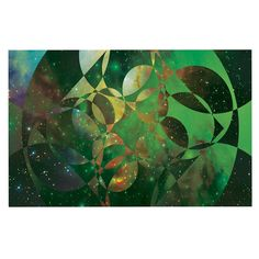 KESS InHouse Matt Eklund 'Galactic Brilliance' Geometric Green Dog Place Mat, 13' x 18' >>> Trust me, this is great! Click the image. : Dog food container
