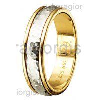 Βέρες Στεργιάδης Collection δίχρωμες χρυσές με λευκόχρυσο με σφυρίλατο στη μέση Φάρδος 5,30 mm. Gold Rings, Rose Gold, Bracelets, Jewelry, Bangles, Jewlery, Jewels, Bracelet, Jewerly